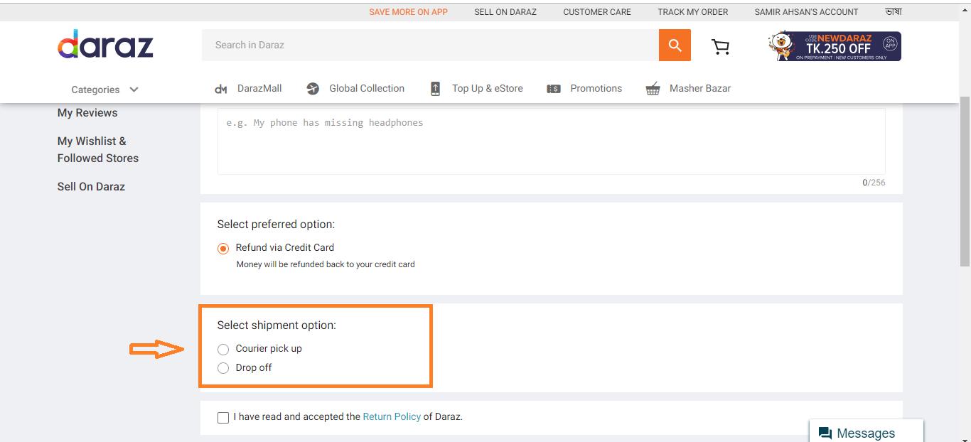 select shipment option of daraz.com.bd