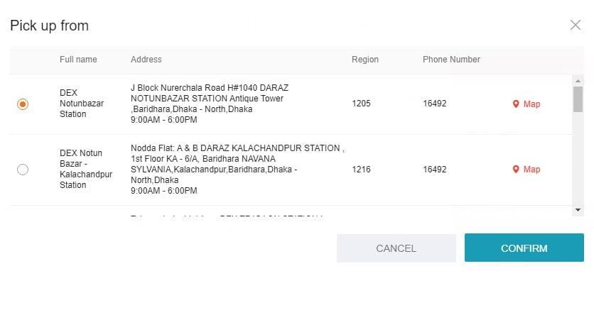 confirm your pick up point daraz.com.bd