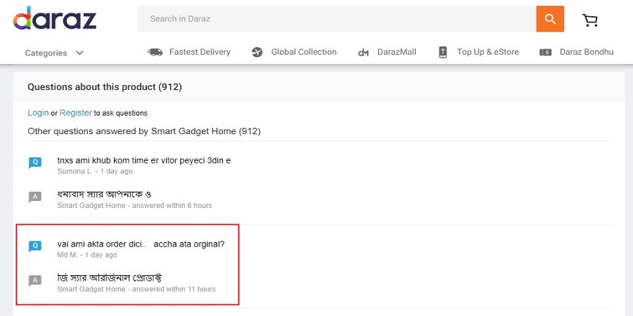 analyse question-answers between seller and customers on daraz.com.bd