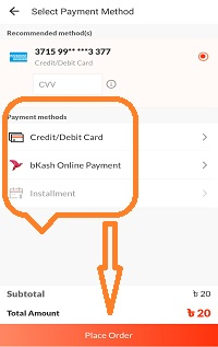 select payment method to recharge your mobile at daraz app