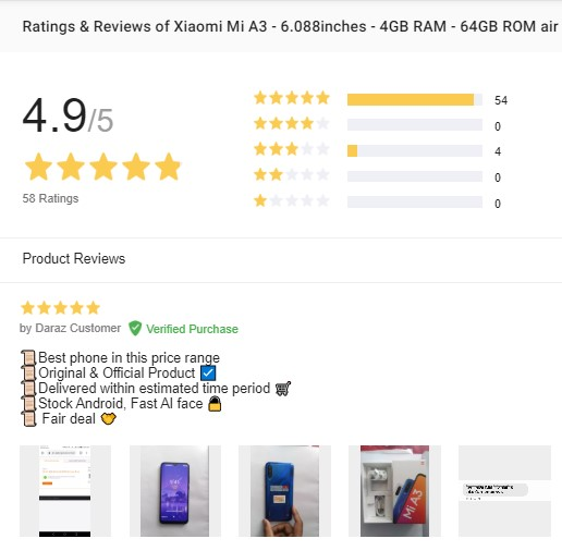 rating and review section of daraz.com.bd