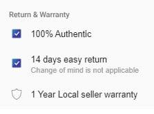 return and warranty part of daraz.com.bd
