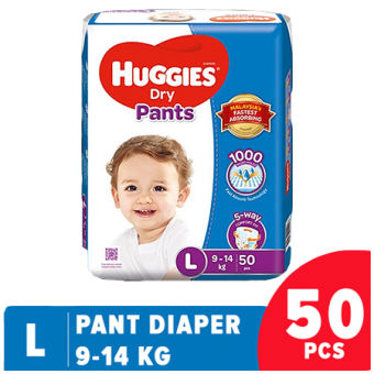 Huggies Dry Pant Diaper Large-50 Pcs (9-14 KG)