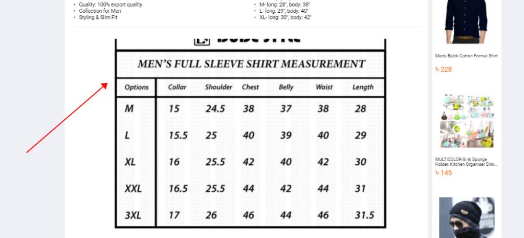 size chart-daraz.com.bd