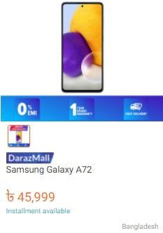 buy samsung a72 mobile from daraz.com.bd