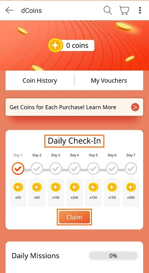 daily check in for dcoins