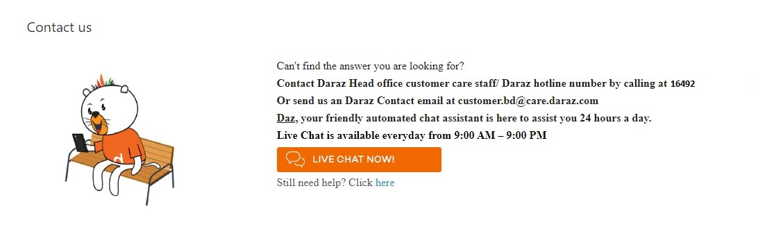contact with daraz for any help